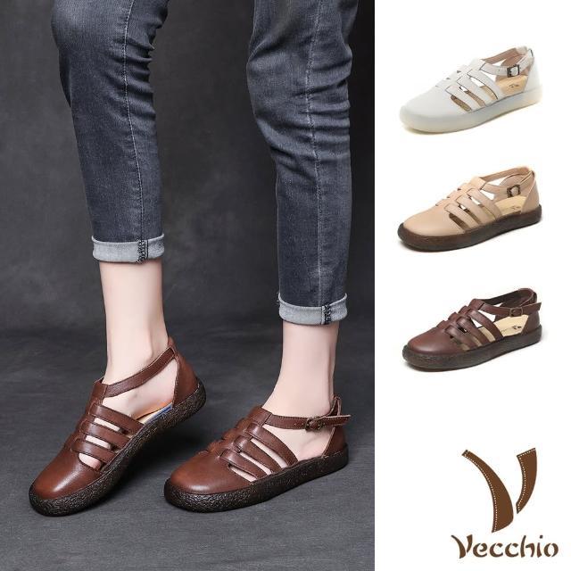 【Vecchio】真皮涼鞋 縷空涼鞋/真皮頭層牛皮縷空線條舒適軟底休閒涼鞋(3色任選)