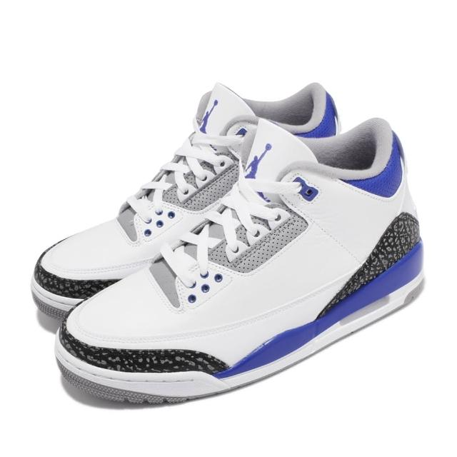 【NIKE 耐吉】休閒鞋 Air Jordan 3 Retro 男鞋 AJ3代 復刻 喬丹 爆裂紋 小閃電 白 藍(CT8532-145)