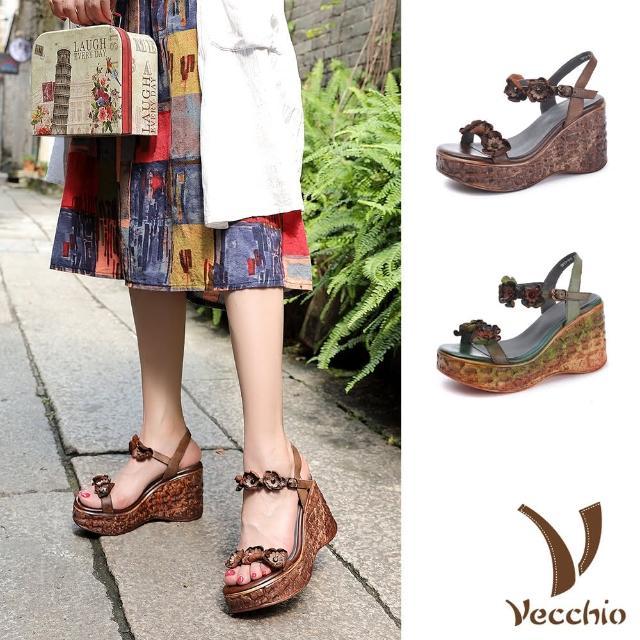 【Vecchio】真皮涼鞋 厚底涼鞋 坡跟涼鞋/全真皮頭層牛皮立體花朵手染擦色坡跟厚底涼鞋(2色任選)
