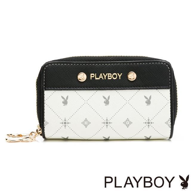 【PLAYBOY】雙拉鍊零錢包 白色黑晶兔系列(米白色)
