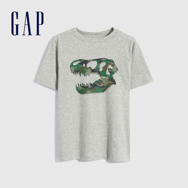 【GAP】男童 純棉創意印花短袖T恤(696619-灰色)