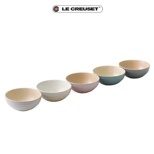 【Le Creuset】瓷器悠然恬靜系列沙拉碗組15cm-5入(棉花白/蛋白霜/貝殼粉/海洋之花/迷霧灰)