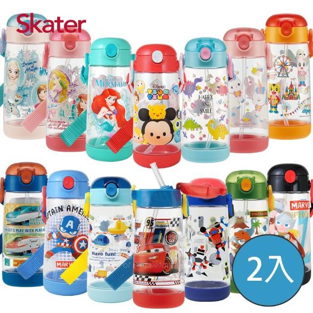 【Skater】迪士尼PET吸管水壺480ml(2入組)