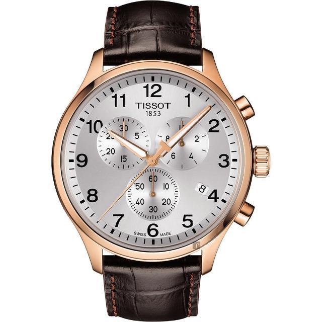 【TISSOT 天梭】韻馳系列 Chrono XL計時手錶-銀x玫塊金框x咖啡錶帶/45mm(T1166173603700)