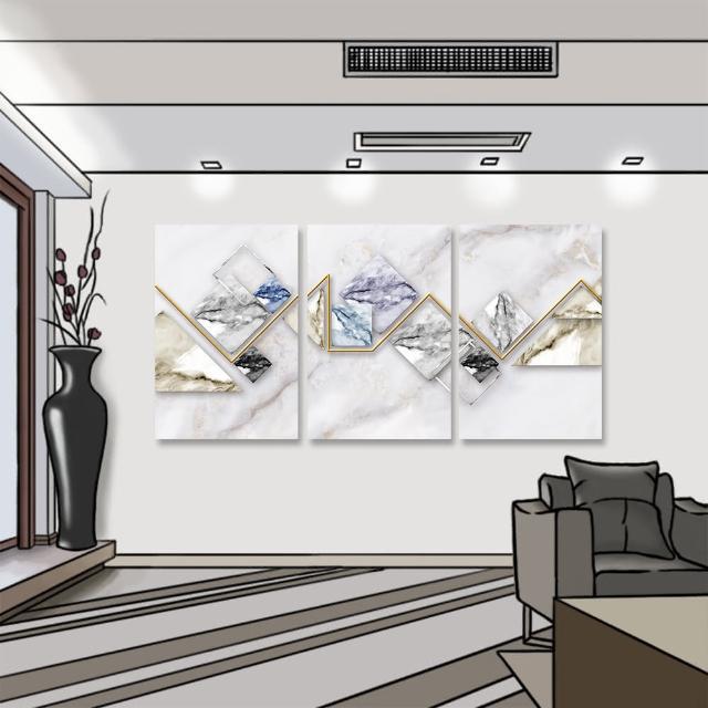 【24mama 掛畫】三聯式 油畫布 金色 磁磚 時尚 灰色 抽象 無框畫-40x60cm(幾何大理石)