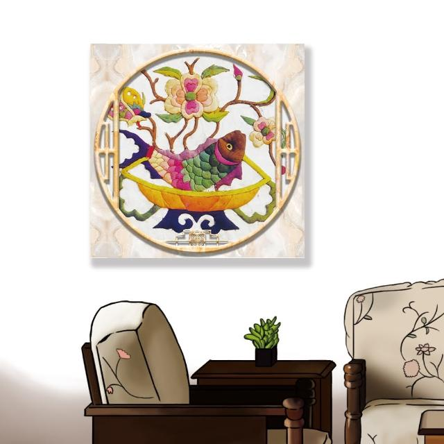 【24mama 掛畫】單聯式 油畫布 動物 蘭花 花卉 豐富多彩 無框畫-60x60cm(刺繡魚)