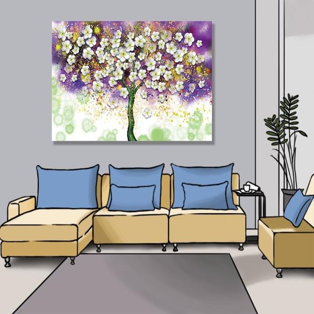 【24mama 掛畫】單聯式 油畫布 明亮 斑點 開花 藝術 美麗植物花卉 豐富繽紛 無框畫-80x60cm(大白花樹)