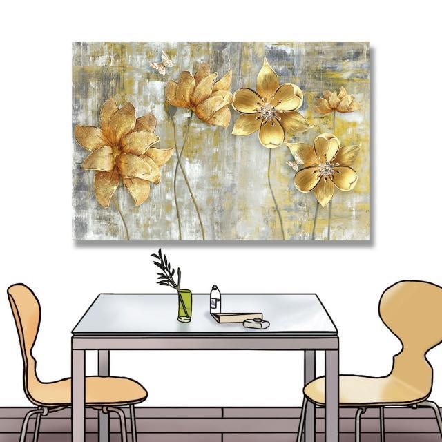 【24mama 掛畫】單聯式 油畫布 美麗花卉 金色 復古 昆蟲 蝴蝶 無框畫 時鐘掛畫-60x40cm(大金花)