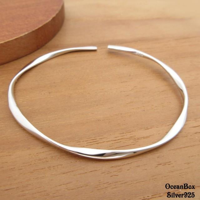 【海洋盒子】極細版輕巧波浪線條S925純銀開口式手環(附贈禮盒+拭銀布)