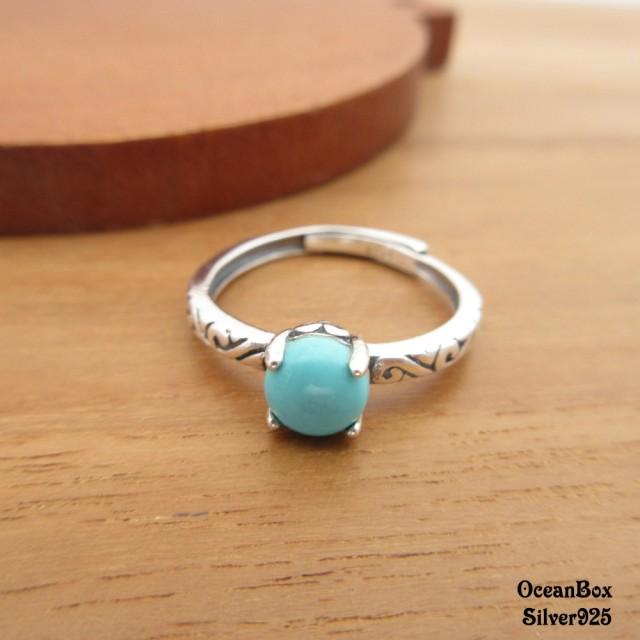 【海洋盒子】復古優雅綠松石設計925純銀戒指(925純銀戒指.可調整戒圍)