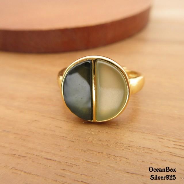 【海洋盒子】簡約時尚天然和闐玉墨玉雙色鍍金925純銀戒指(925純銀戒指.可調整戒圍)