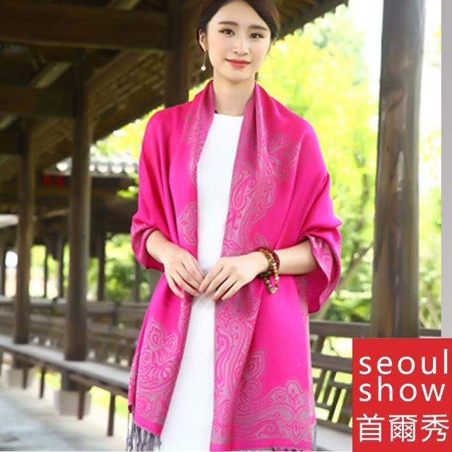 【Seoul Show 首爾秀】曼荼羅-隱痕 棉質編織圍巾大披肩(防寒保暖)