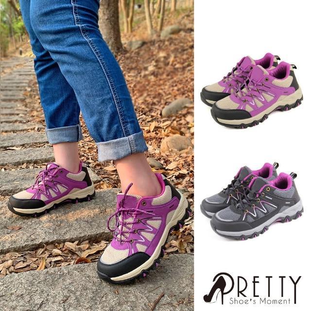 【Pretty】女款防潑水透氣網布反光拼接綁帶運動休閒鞋/登山鞋(卡其、黑色)