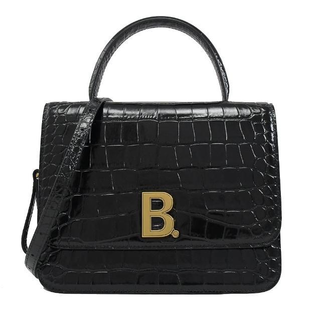 【Balenciaga 巴黎世家】金屬字母B LOGO鱷魚紋手提兩用包仕女包(黑)