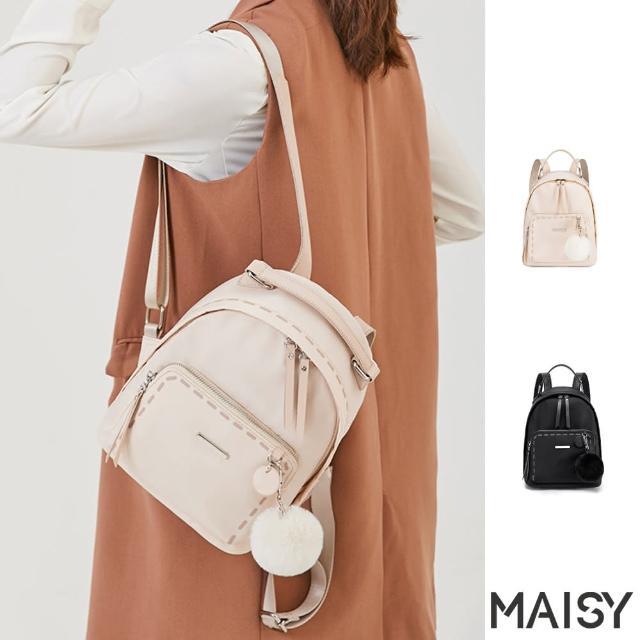 【MAISY】超實用牛津布雙肩後背包(現+預 米白色 / 黑色)