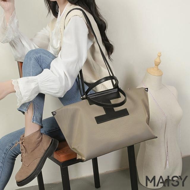 【MAISY】輕巧簡約大容量牛津布手提肩背包(現+預 卡其色 / 黑色 / 印花)