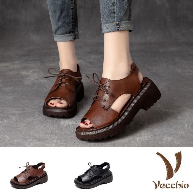 【Vecchio】真皮涼鞋 厚底涼鞋 粗跟涼鞋/全真皮頭層牛皮復古鬆糕厚底粗跟繫帶時尚羅馬涼鞋(2色任選)