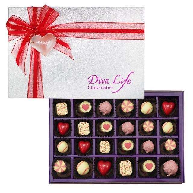 【Diva Life】Open Your Heart 經典巧克力禮盒夾心24入 360g/盒 -冷藏配送(七夕限定)