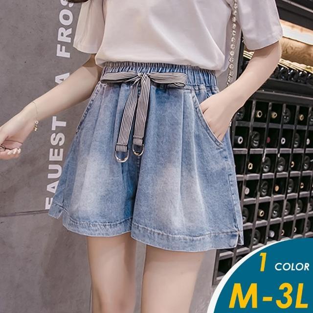 【CHACO】/現+預購/韓系綁帶休閒百搭寬鬆闊腿牛仔短褲#9901