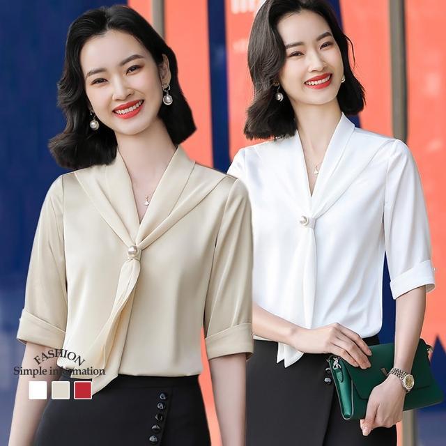 【Alishia】奢華V領絲帶雪紡上衣襯衫 M-3XL(現+預 白色 / 杏色 / 紅色)
