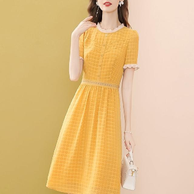 【FQ 時尚天后】花邊領太陽黃方格圓點押紋洋裝(S-2XL)