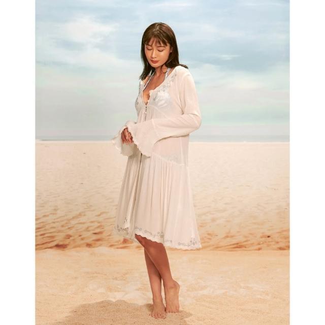 【WAVE SHINE】繡花浪漫波浪長罩衫-二色(B5WF022)