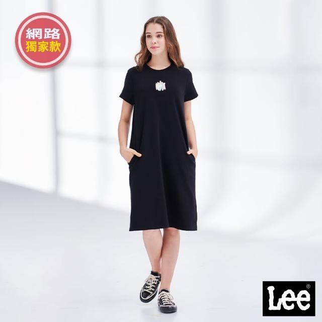 【Lee】水彩塗鴉 側邊口袋 女短袖休閒洋裝-氣質黑