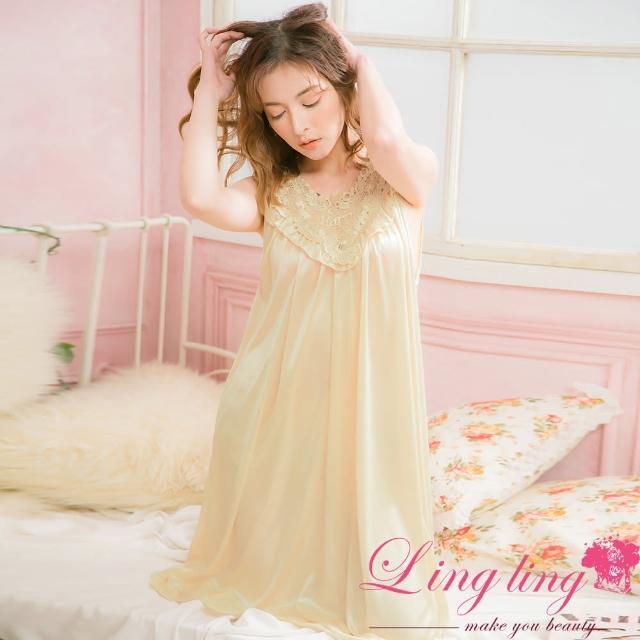 【lingling】PA2838全尺碼-刺繡英字雕花蕾絲冰絲連身背心睡衣(香檳金)