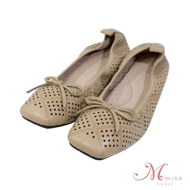 【MIRA】真皮蝴蝶結透氣柔軟方頭低跟鞋-杏色-W08019N15(真皮/透氣/方頭鞋/低跟鞋)