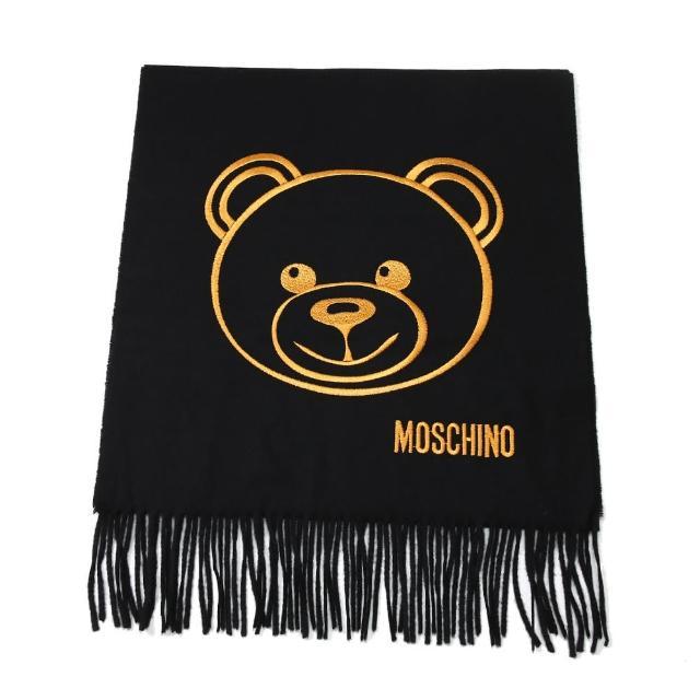 【MOSCHINO】泰迪熊臉純羊毛寬版流蘇圍巾(016 黑色)