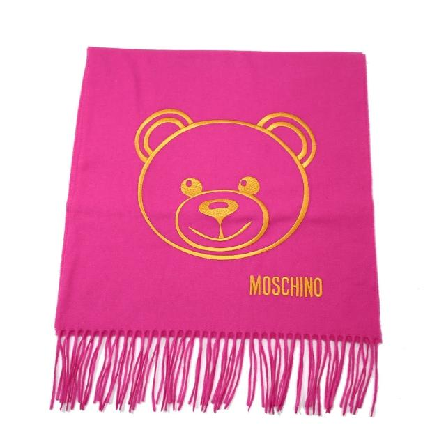【MOSCHINO】泰迪熊臉純羊毛寬版流蘇圍巾(009 桃紅)