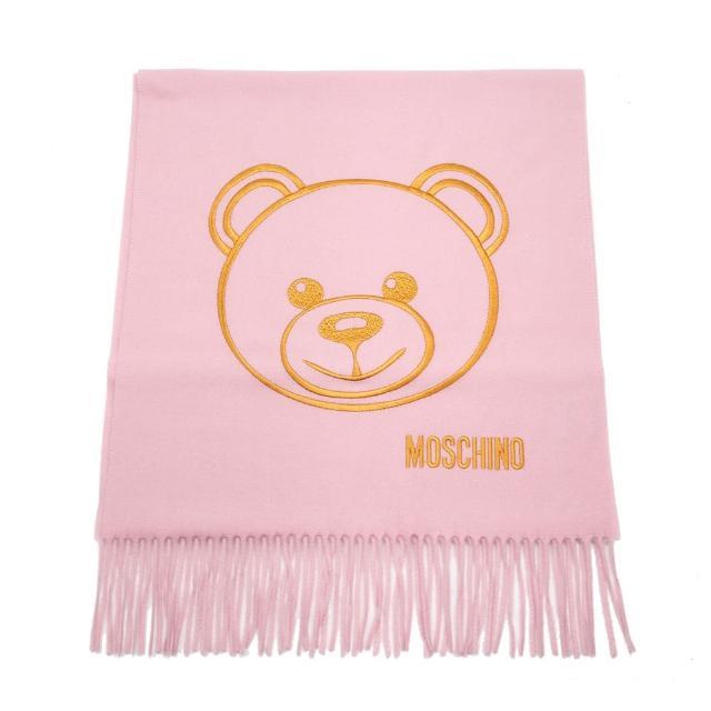 【MOSCHINO】泰迪熊臉純羊毛寬版流蘇圍巾(008 粉紅)