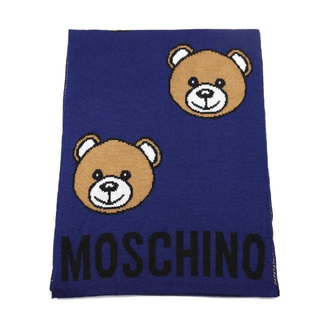 【MOSCHINO】經典泰迪熊滿版混紡羊毛圍巾(013 海軍藍)