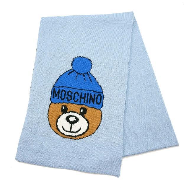 【MOSCHINO】毛帽熊混紡羊毛窄版圍巾(012 水藍)