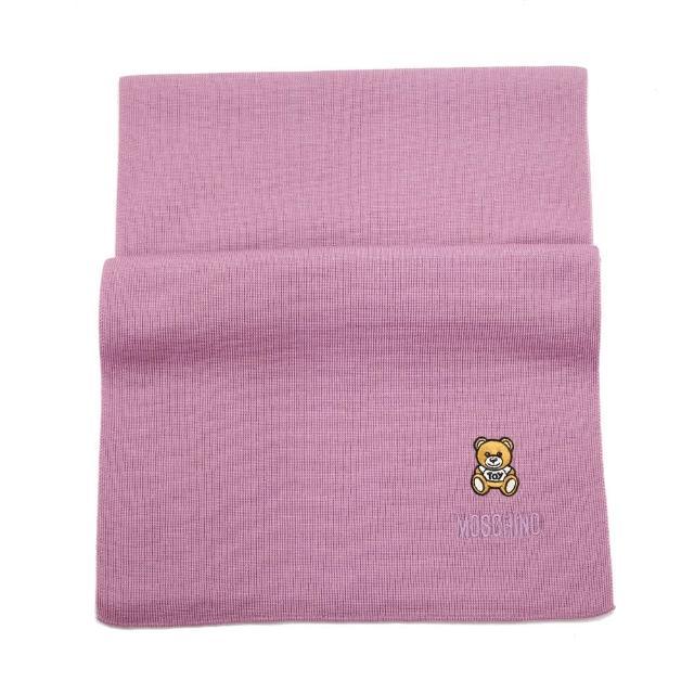 【MOSCHINO】刺繡泰迪熊純羊毛圍巾(008 淺紫)