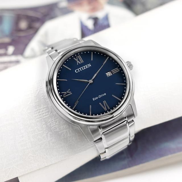 【CITIZEN 星辰】光動能 簡約時尚 日期 防水100米 不鏽鋼手錶 藍色 41mm(AW1670-82L)