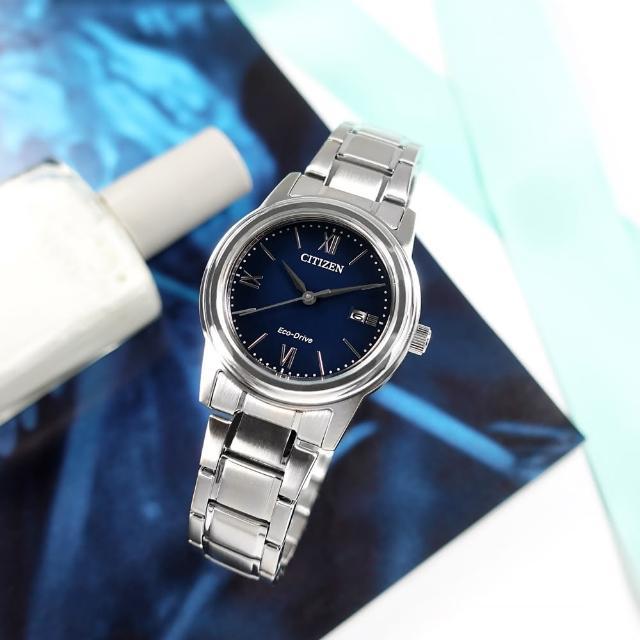 【CITIZEN 星辰】光動能 簡約優雅 日期 防水100米 不鏽鋼手錶 藍色 30mm(FE1220-89L)