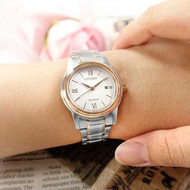【CITIZEN 星辰】光動能 簡約優雅 日期 防水100米 不鏽鋼手錶 白x鍍玫瑰金 30mm(FE1226-82A)