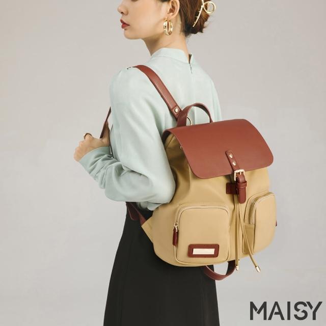 【MAISY】簡約時尚撞色牛津雙肩後背包(現+預 卡其色 / 棕黑色 / 黑色)