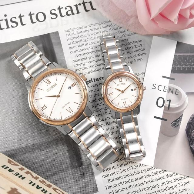 【CITIZEN 星辰】光動能 簡約 日期 不鏽鋼手錶 情人對錶 白x鍍玫瑰金 41mm+30mm(AW1676-86A.FE1226-82A)