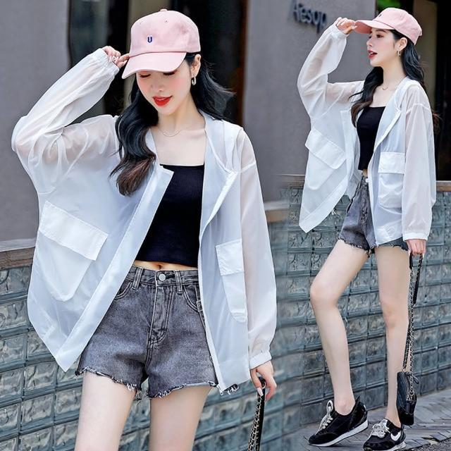 【SZ】舒適透氣時尚輕薄連帽防曬外套M-XL(共三色)