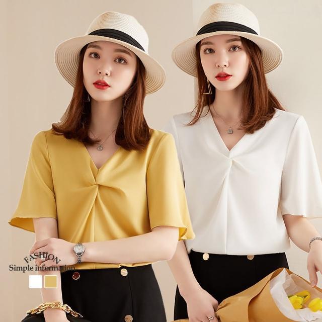 【Alishia】氣質寬鬆V領皺褶五分袖雪紡上衣(現+預 白色 / 黃色)