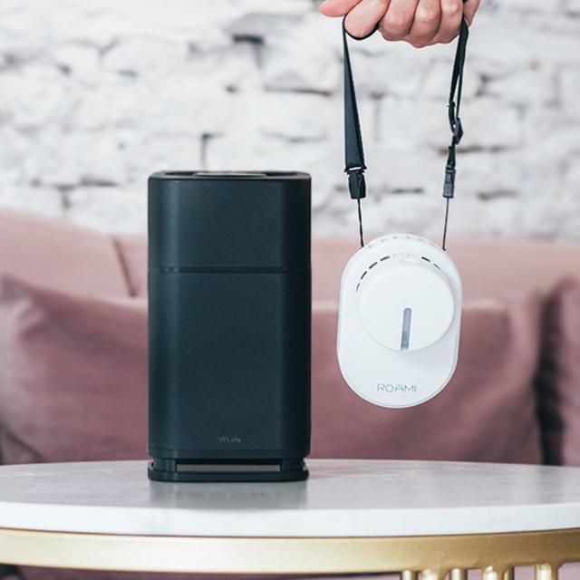 【Roommi】隨身補水風扇+AIR6 奈米光觸媒負離子 雙效空氣淨化器