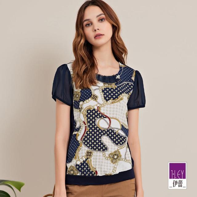 【ILEY 伊蕾】經典華麗絲巾拼接印花造型上衣1212181231(深藍)