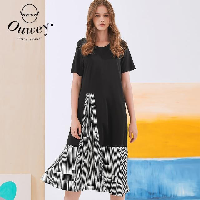 【OUWEY 歐薇】摩登時尚線條層次造型連身裙3212167044(黑)