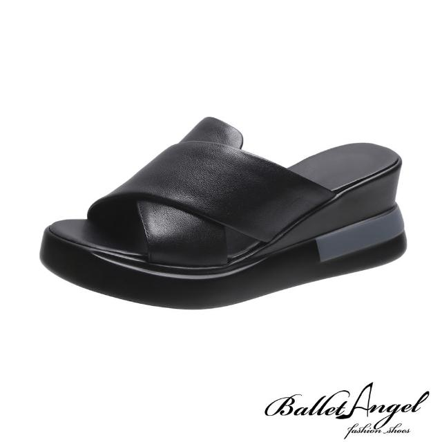 【BalletAngel】拖鞋 好感率真寬版交叉楔型涼拖鞋(黑)