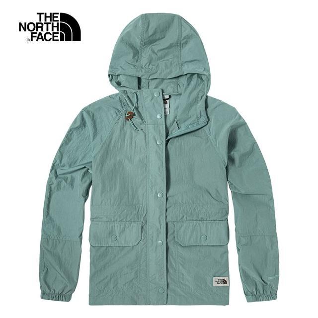 【The North Face】The North Face北面女款藍色防風防潑水收腰設計連帽外套|5AY90LK