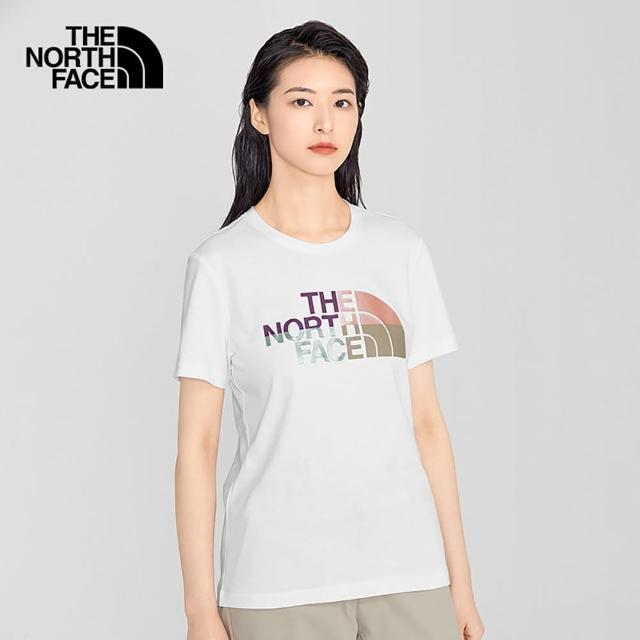 【The North Face】The North Face北面女款白色繽紛品牌印花圓領短袖T恤|5AYAFN4