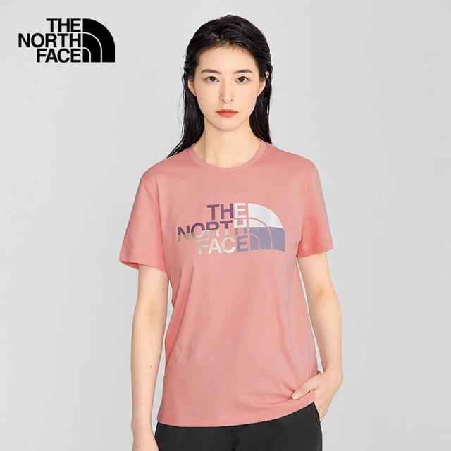 【The North Face】The North Face北面女款粉色繽紛品牌印花圓領短袖T恤|5AYA0LA