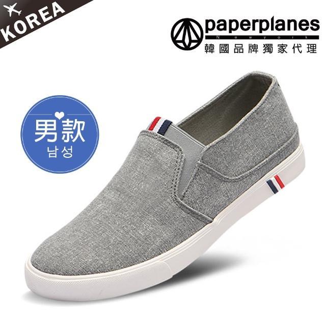 【Paperplanes】韓國空運。男款三色標拼接素面帆布懶人休閒鞋-正常版型(7-191灰/現+預)